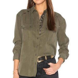 Free People Off Campus Button Down Top in Moss